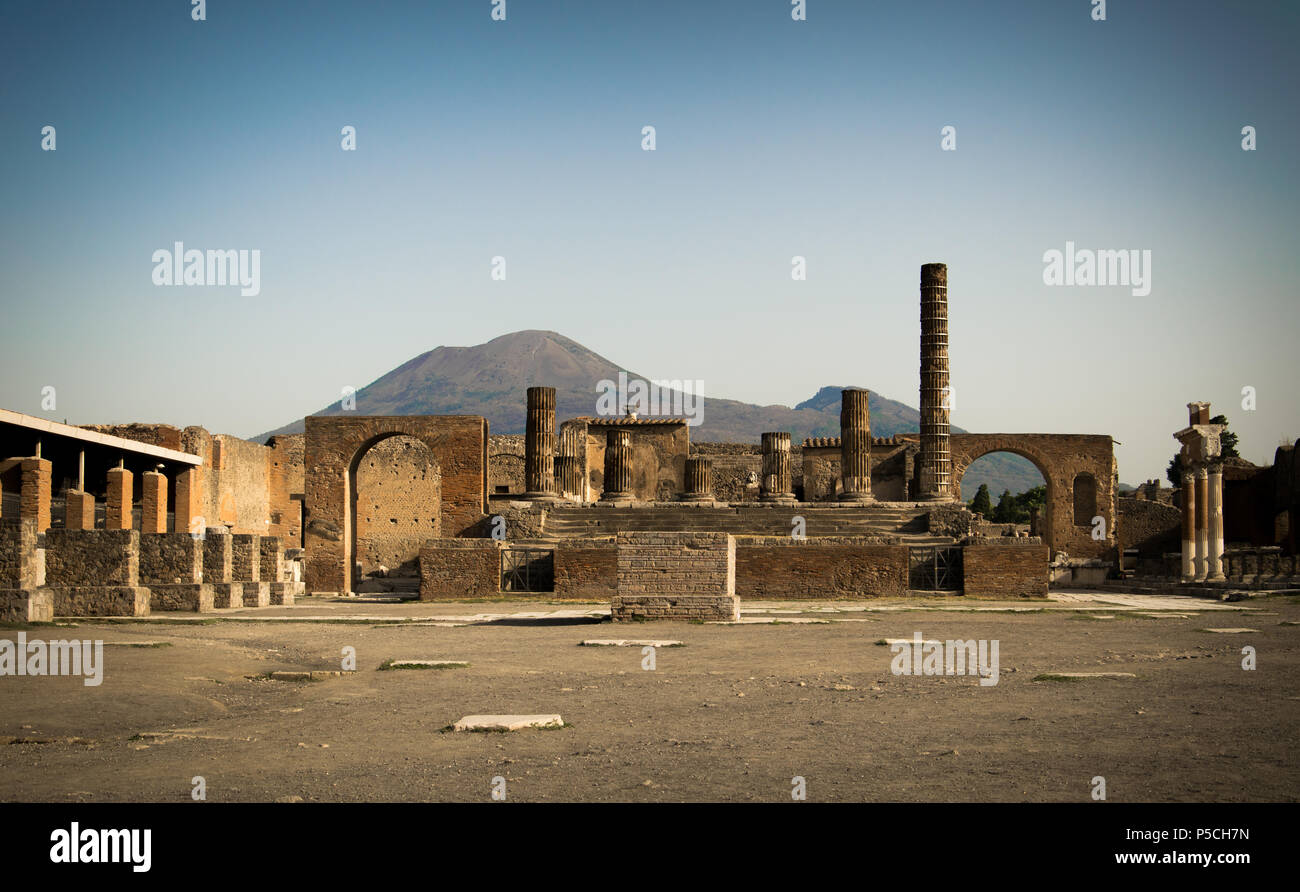 A sunny morning in the empty forum of ancient Pompeii, Italy in the shadow of Mount Vesuvius - Stock Image