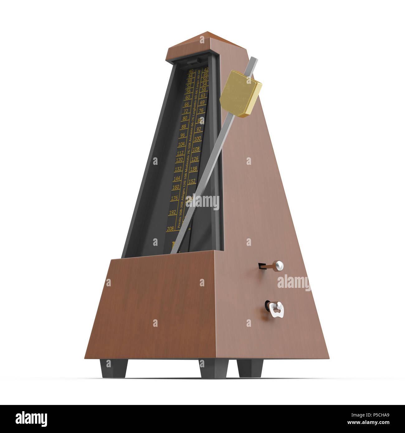 Musical metronome on white. 3D illustration - Stock Image