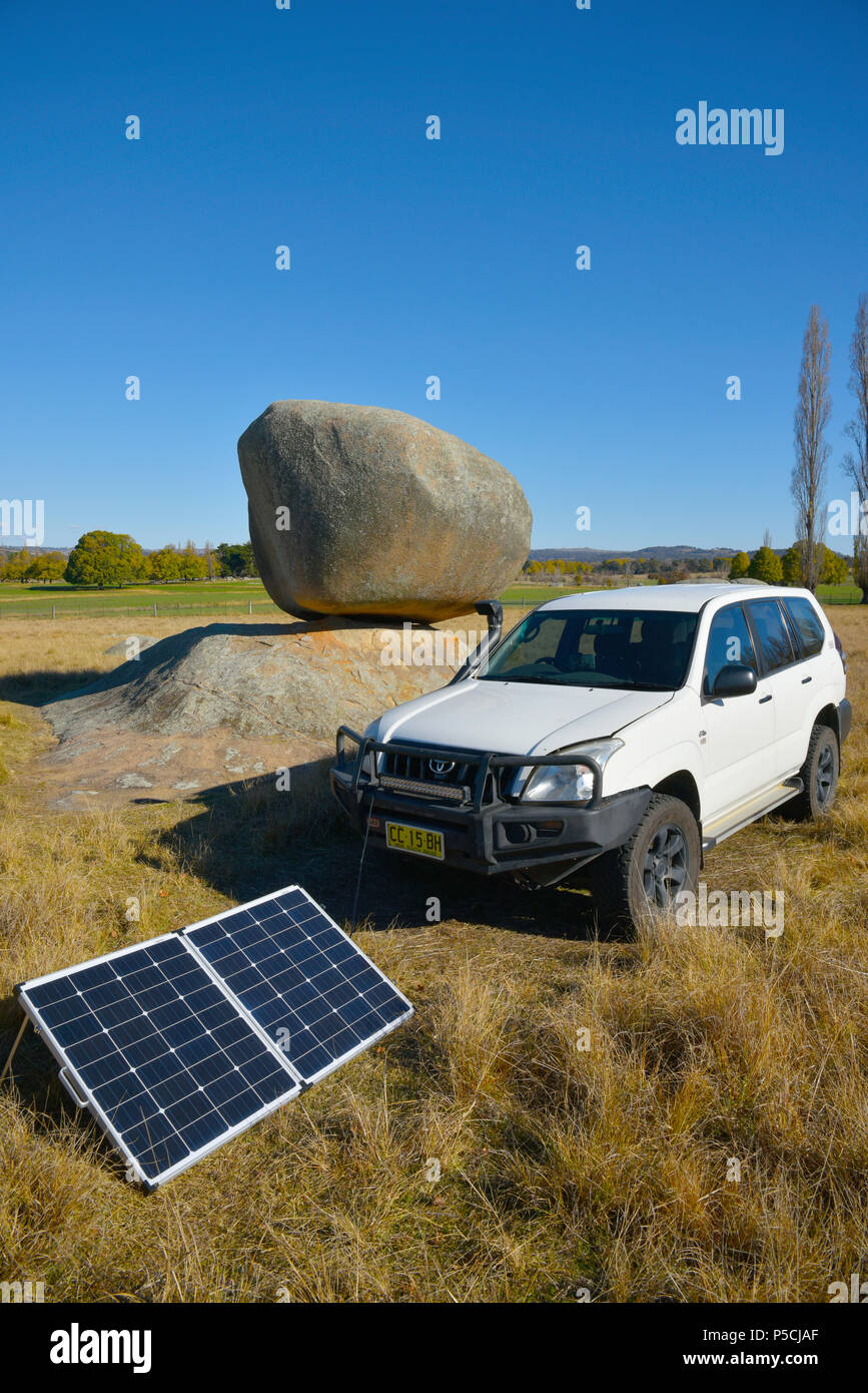 White Toyota Landcruiser Prado 120 Series With Portable Solar Panels Panel Car Charging Second Battery At The Stonehenge Recreation Are Near Glen Innes Nsw