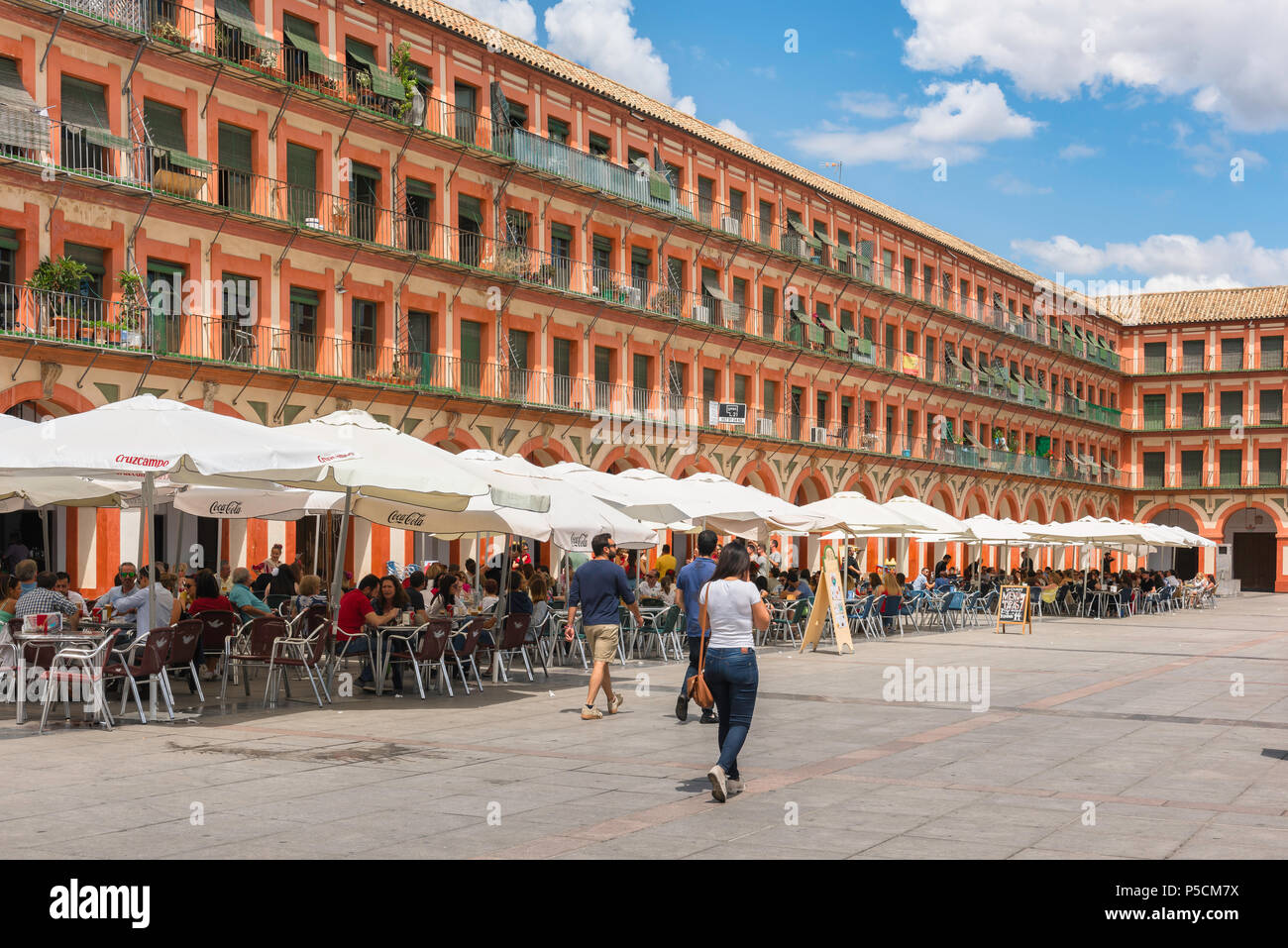Plaza Corredera cafe, view of cafes in the Plaza de la Corredera in the center of Cordoba old town on a summer afternoon, Cordova, Andalucia, Spain. Stock Photo
