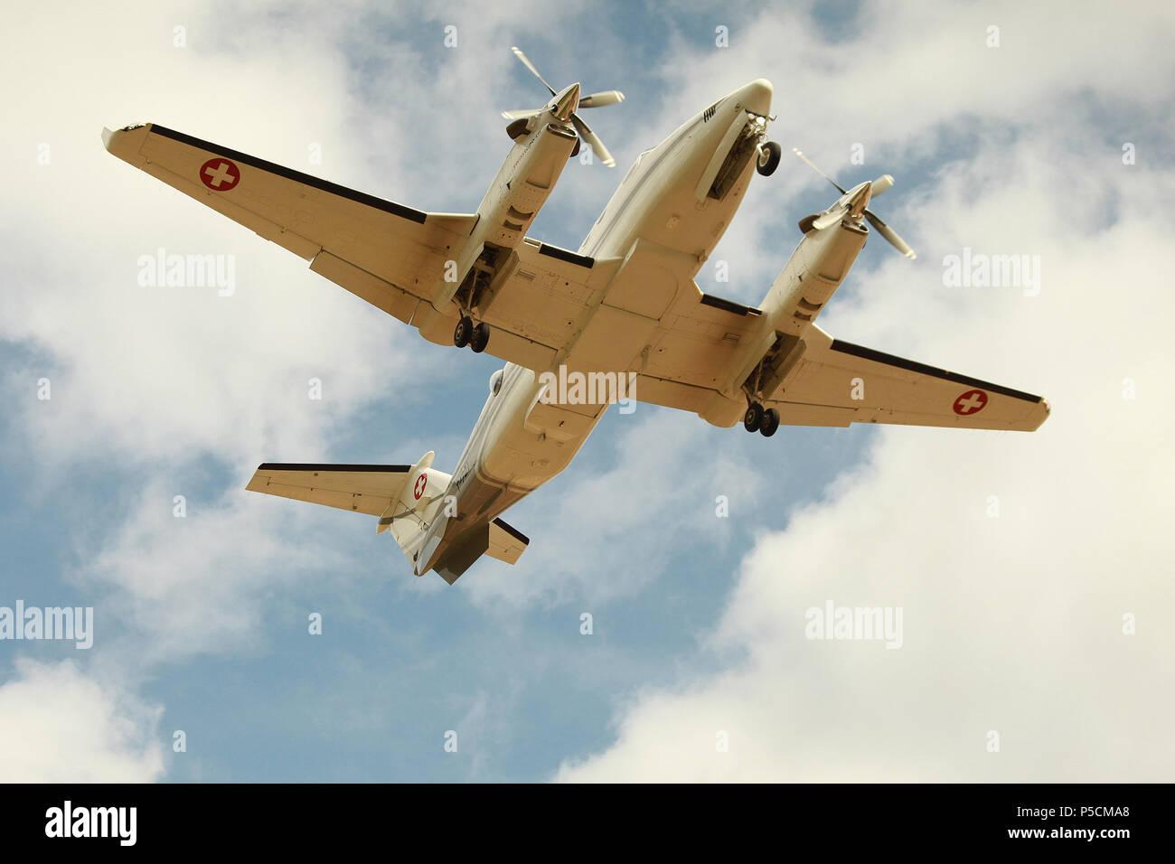 aircraft landing at Schiphol airport - Stock Image