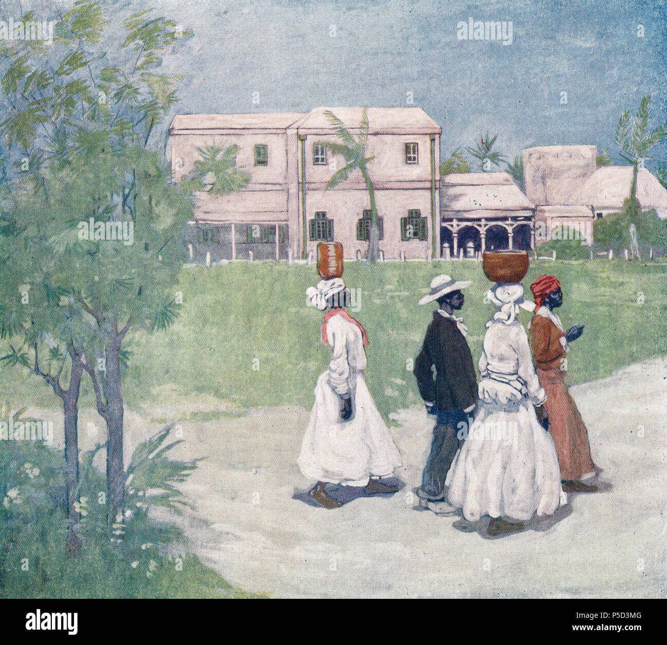Going to work in Barbados, late 19th early 20th century - Stock Image