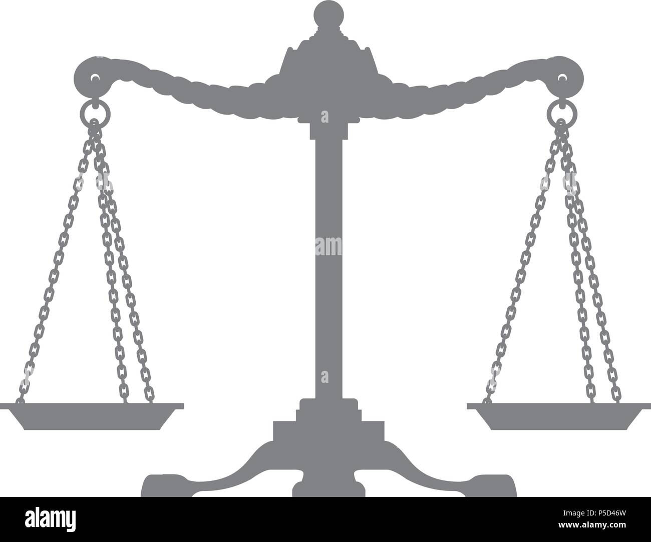 Silhouette Of Old Balance Scales Symbol Of Justice Stock Vector