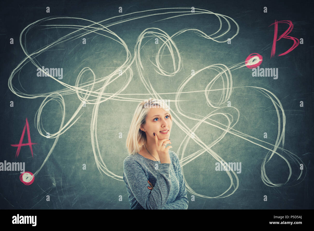 Puzzled young woman in front of a blackboard thinking to find the correct way from one point A to another B. Solving problem, search for solution, bus - Stock Image