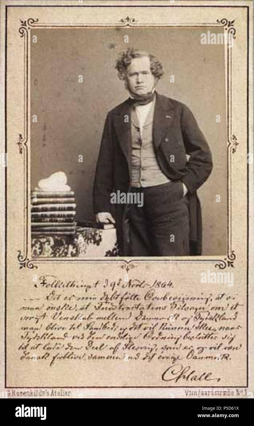 N A English Carte De Visite Of Danish Council President Prime Minister MP Carl Christian Hall 1812 1888 Inscribed With Comment On The Loss