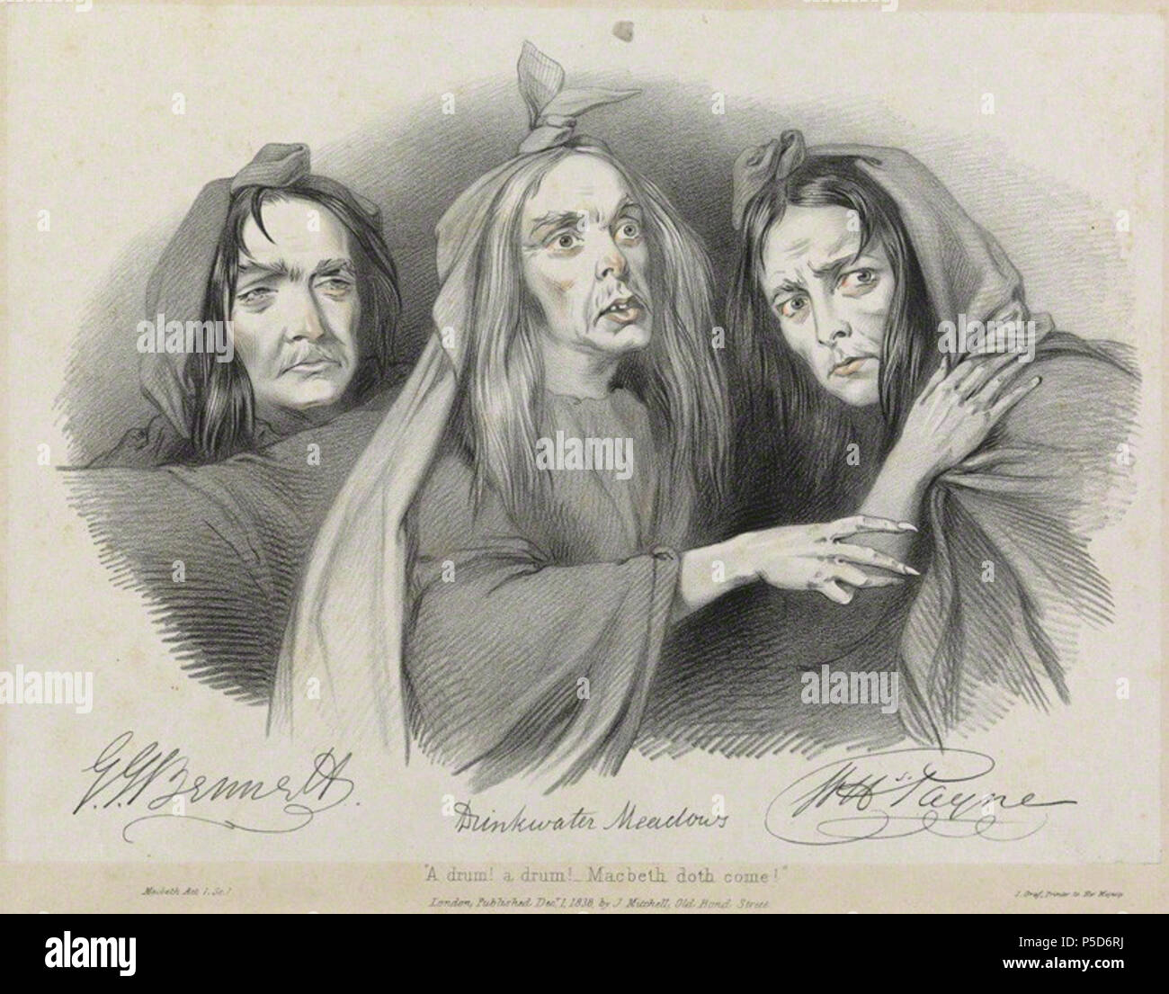 by Richard James Lane, printed by  JÈrÈmie Graf, published by  John Mitchell, hand-coloured lithograph, published 1 December 1838 480 Drinkwater Meadows; John Howard Payne; George John Bennett as the witches in 'Macbeth' - Stock Image
