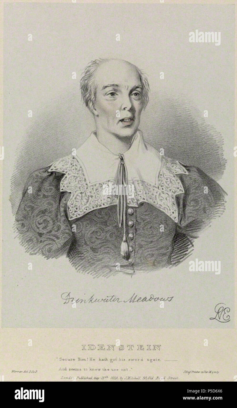 by Richard James Lane, printed by  JÈrÈmie Graf, published by  John Mitchell, after  Alfred Edward Chalon, hand-coloured lithograph, published 15 May 1839 480 Drinkwater Meadows as Idenstein in 'Werner' - Stock Image