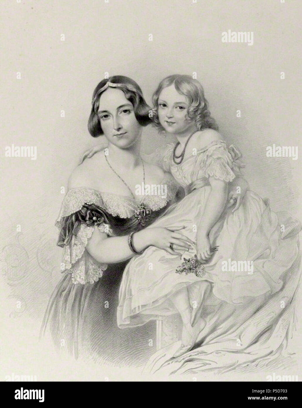 by Richard James Lane, after  Sir George Hayter, lithograph, 1841 60 Adelheid of Hohenlohe-Langenburg - Stock Image
