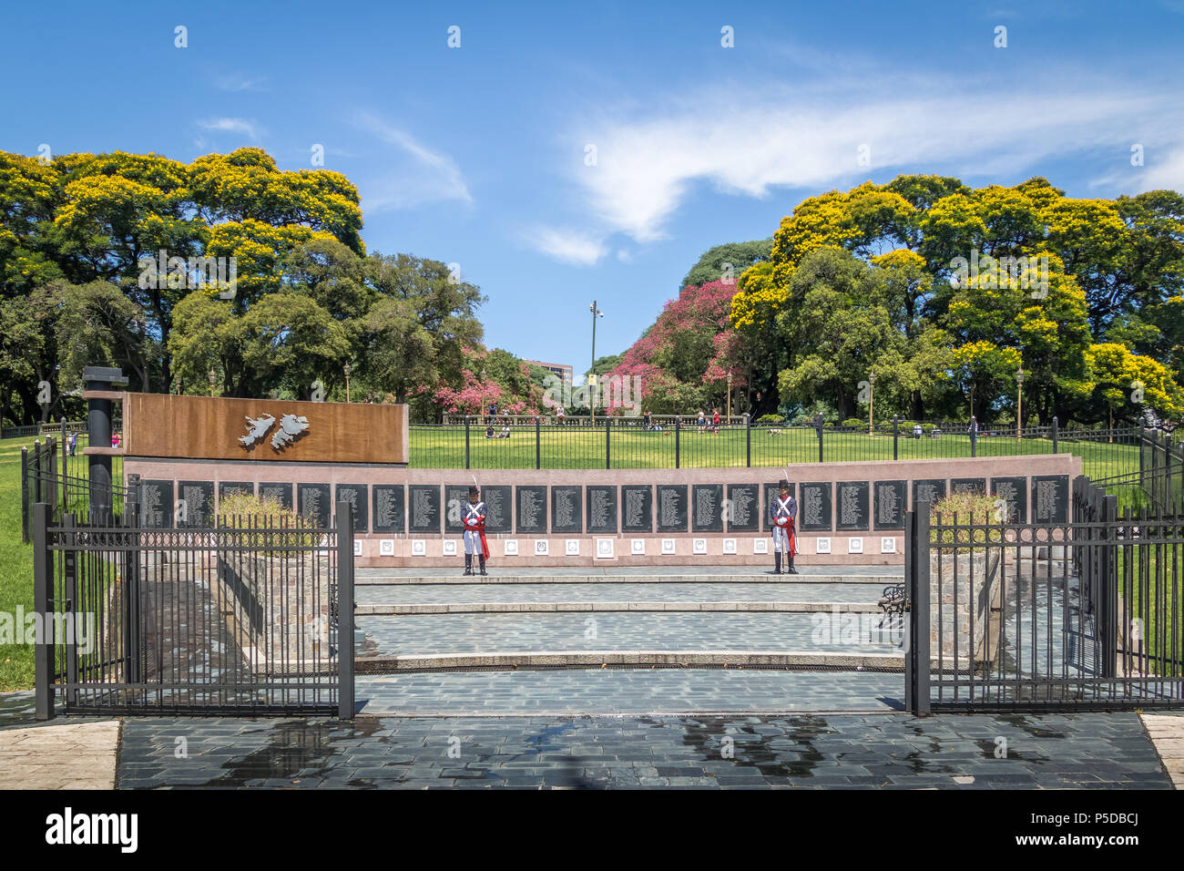 Monument to the Fallen in Malvinas at General San Martin Plaza in Retiro - Buenos Aires, Argentina - Stock Image