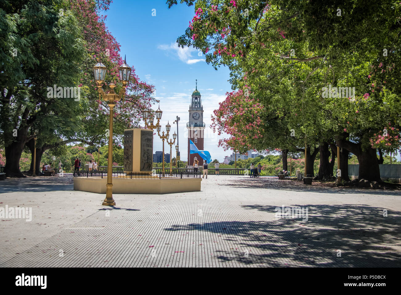Torre Monumental or Torre de los Ingleses (Tower of the English) and General San Martin Plaza in Retiro - Buen - Stock Image