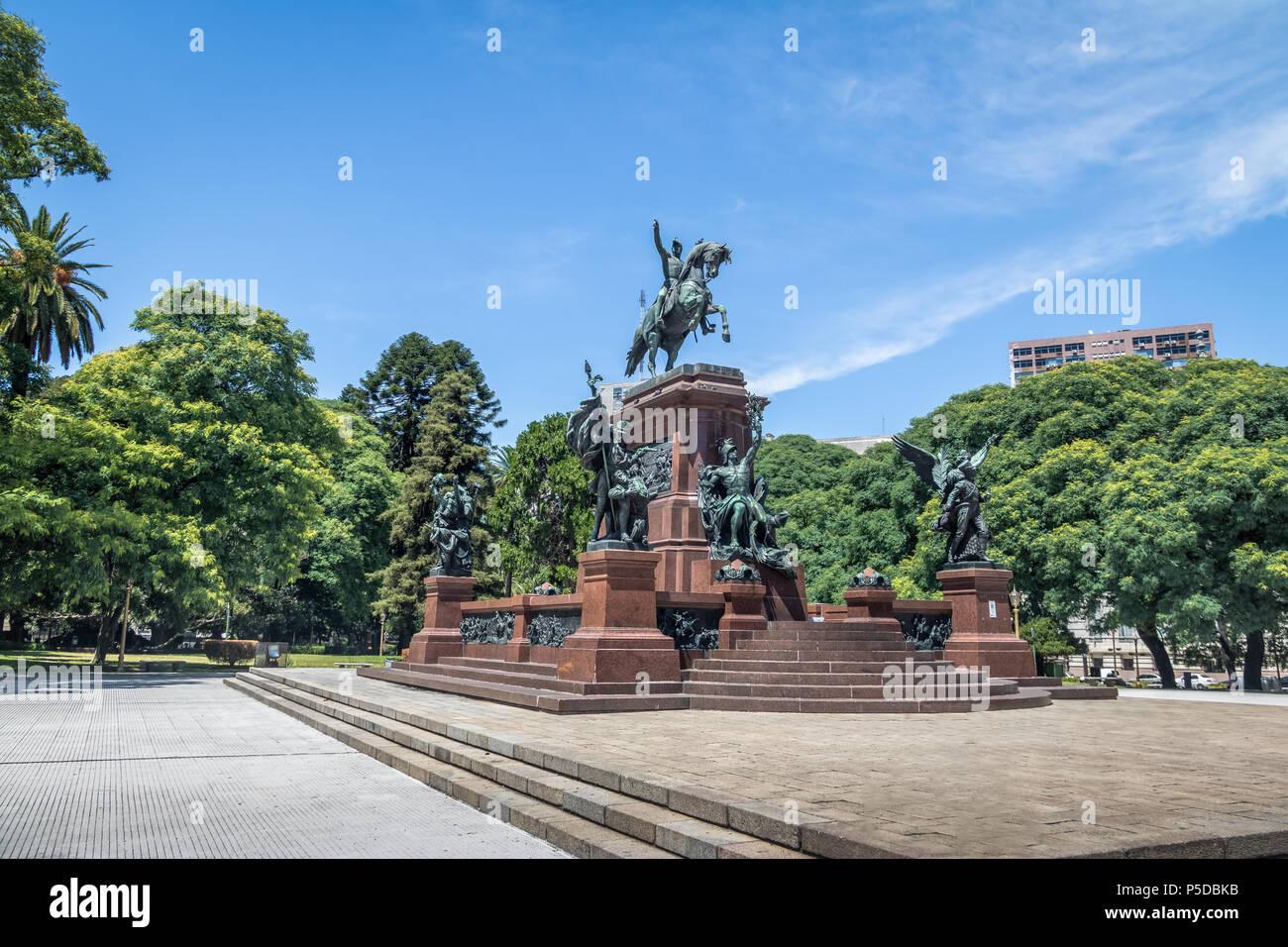 San Martin Statue at General San Martin Plaza in Retiro - Buenos Aires, Argentina - Stock Image
