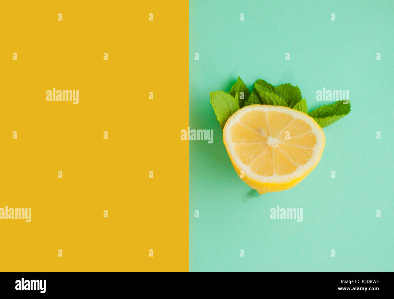 Flat lay of lemonade ingredients. - Stock Image