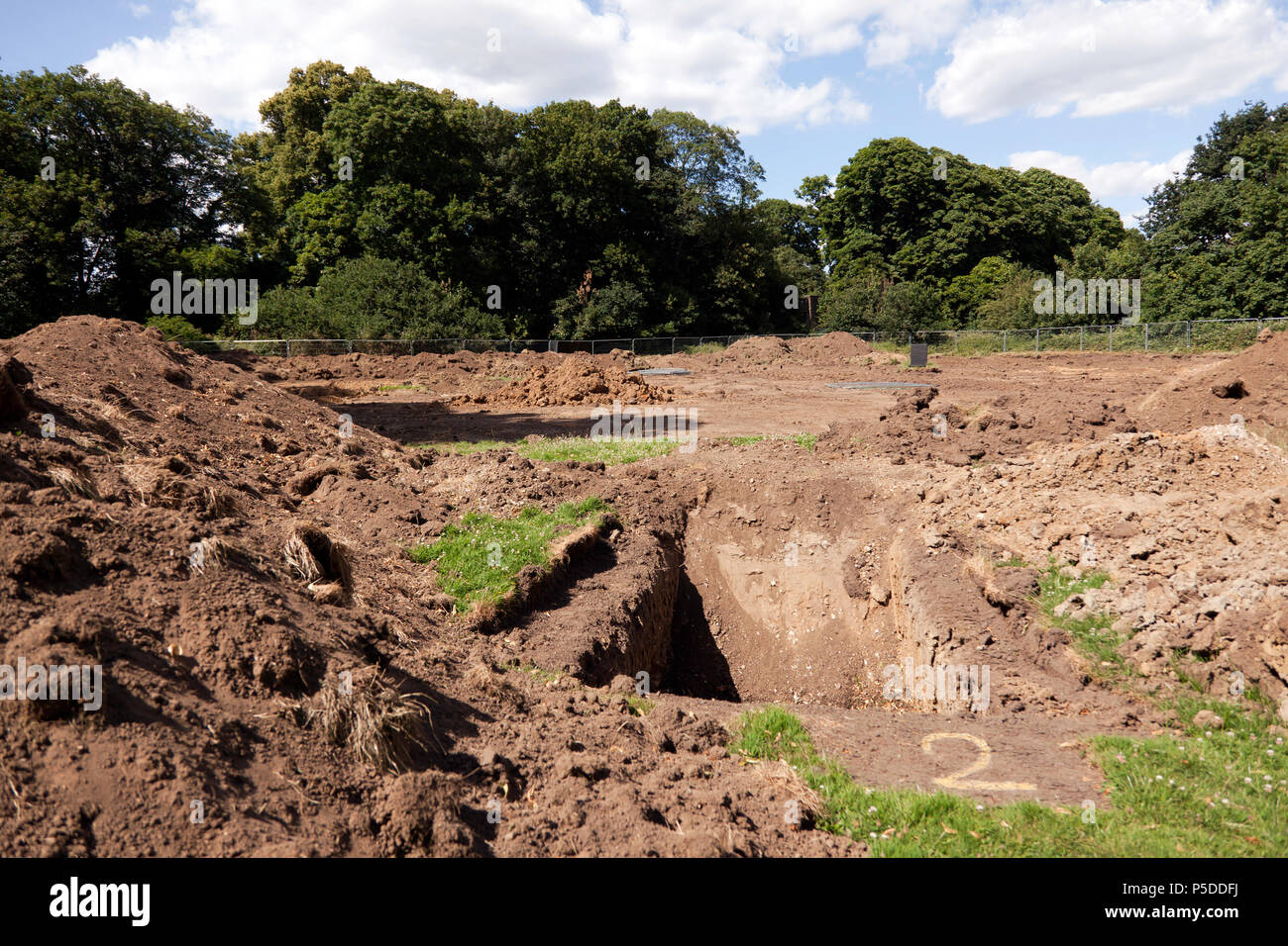 Areas of Beckenham Place Park disrupted by Lewisham Councils improvements funded by the Heritage Lottery Fund and Sadiq Khan - Stock Image