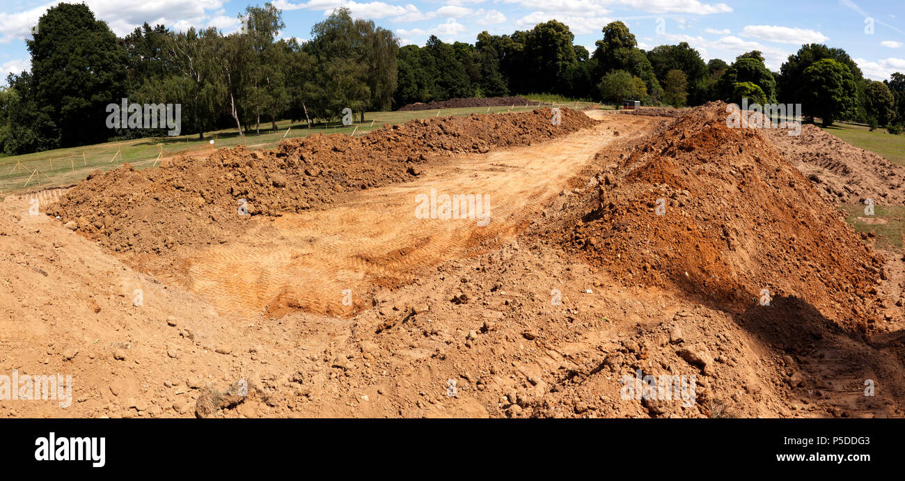 Earth, removed from the site of the new car park in Beckenham Place Park,  being  stored  near Southend Lodge. - Stock Image