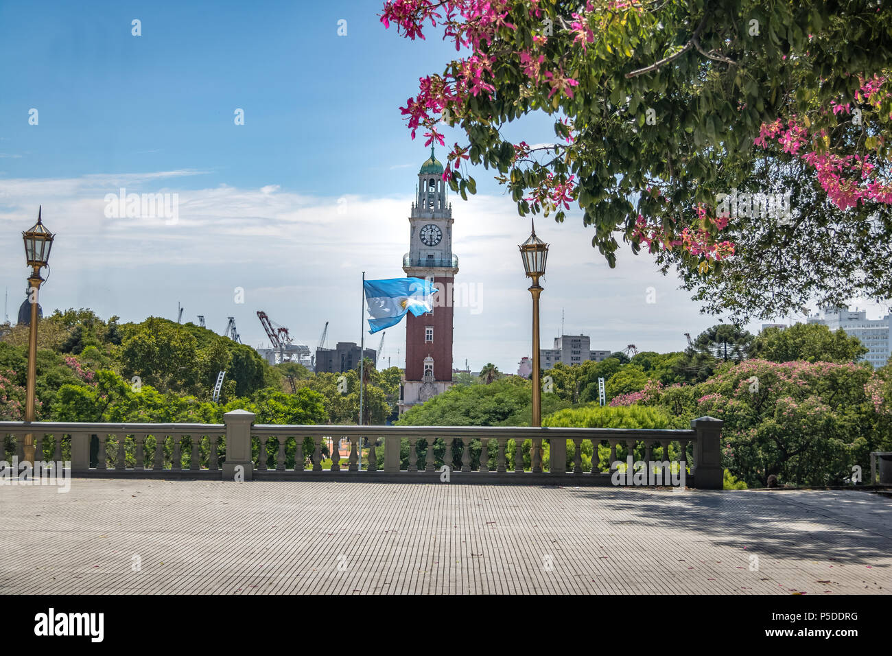 Torre Monumental or Torre de los Ingleses (Tower of the English) and General San Martin Plaza in Retiro - Buenos Aires, Argentina Stock Photo