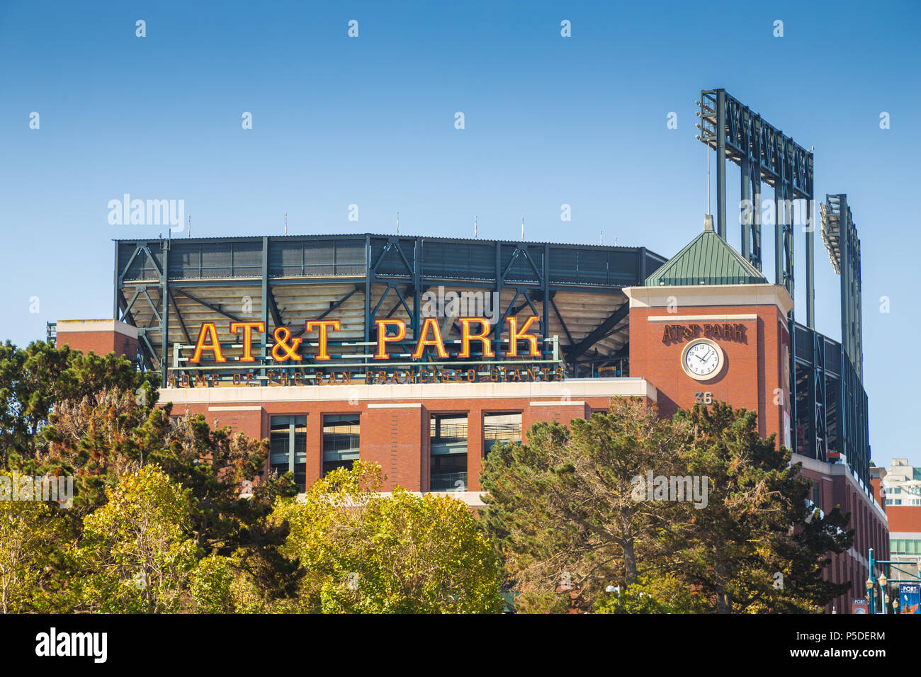 Historic AT&T Park baseball park, home of the San Francisco Giants professional baseball franchise, on a beautiful sunny day with blue sky, California - Stock Image