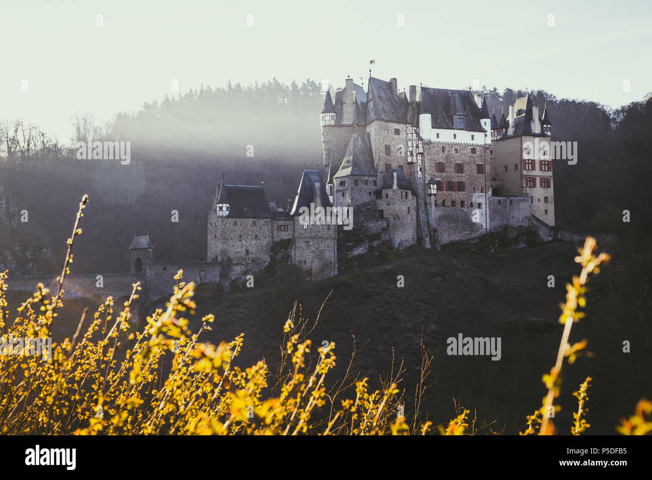 Beautiful view of famous Eltz Castle in scenic golden morning light at sunrise in fall with retro vintage VSCO style filter effect, Wierschem, Germany Stock Photo