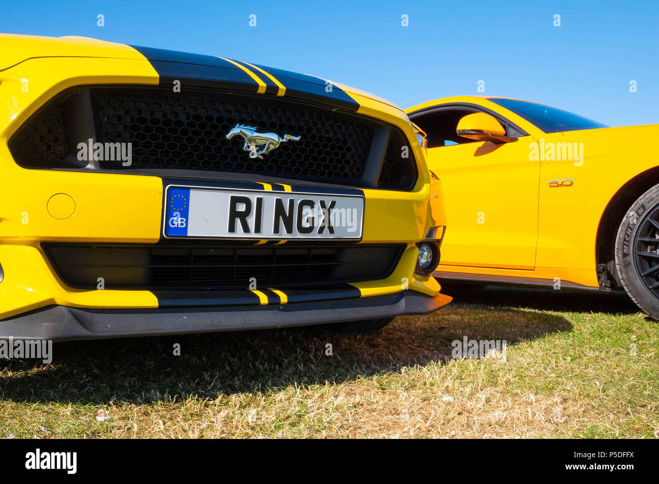 2 cool fast cars, 2 European right hand drive Ford Mustang 5 litre V8 GT Fastback Auto cars Stock Photo