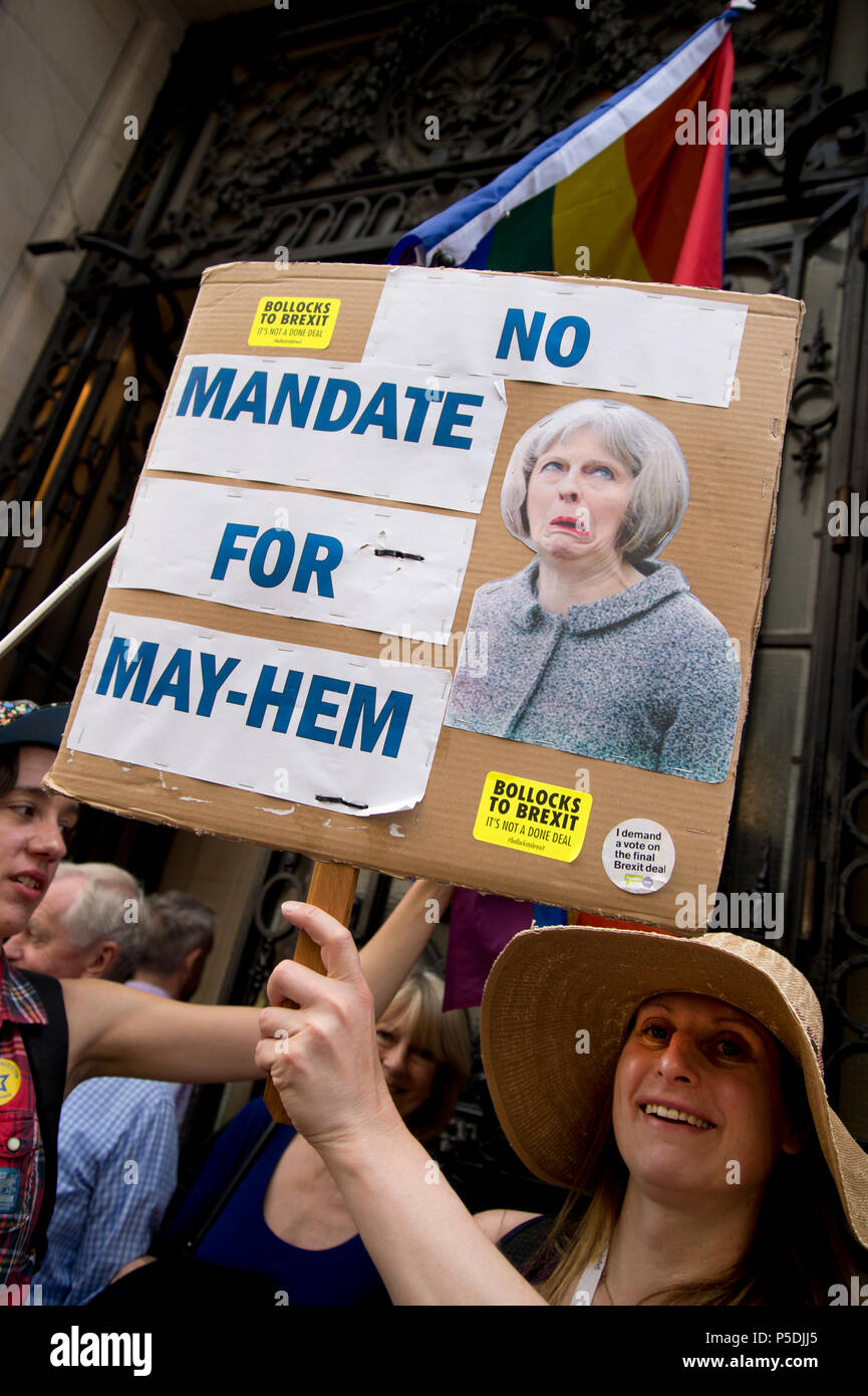 On 2nd anniversary of Brexit , June 23rd 2018, around 100,000 people marched in Central London demanding a People's Vote on the final Brexit deal. A w - Stock Image