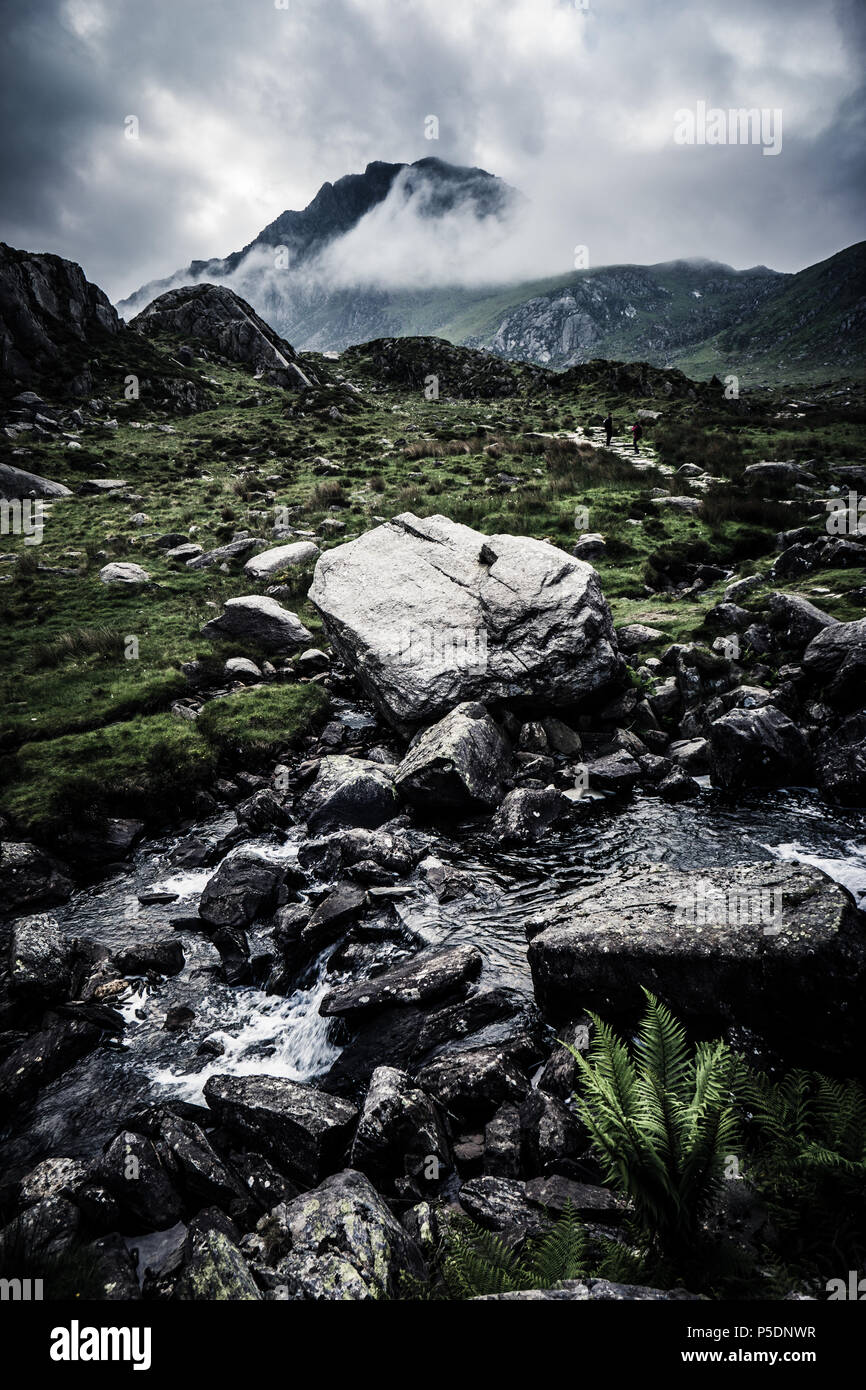 Mountains in Snowdonia during a morning of dramatic weather Stock Photo