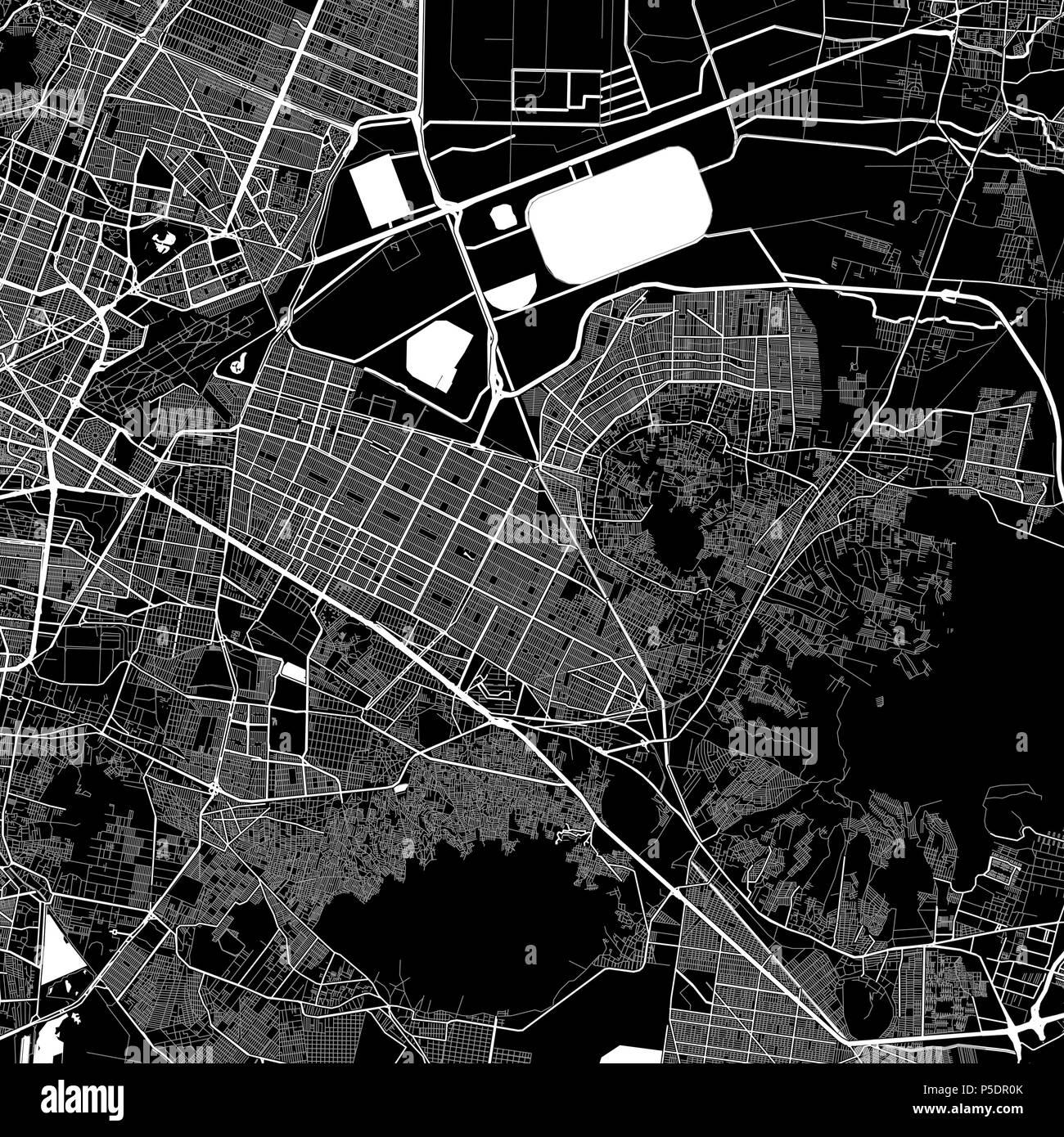 Nezahualcoyotl Mexico Map.Area Map Of Nezahualcoyotl Mexico Dark Background Version For