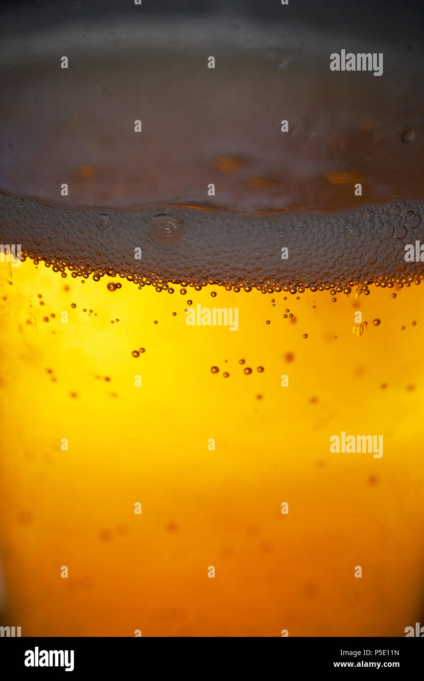 carbon dioxide bubbles in a glass of fizzy drink. In this case cider but generic image. The uk is currently experiencing a shortage of CO2 for the drinks and food industry - Stock Image