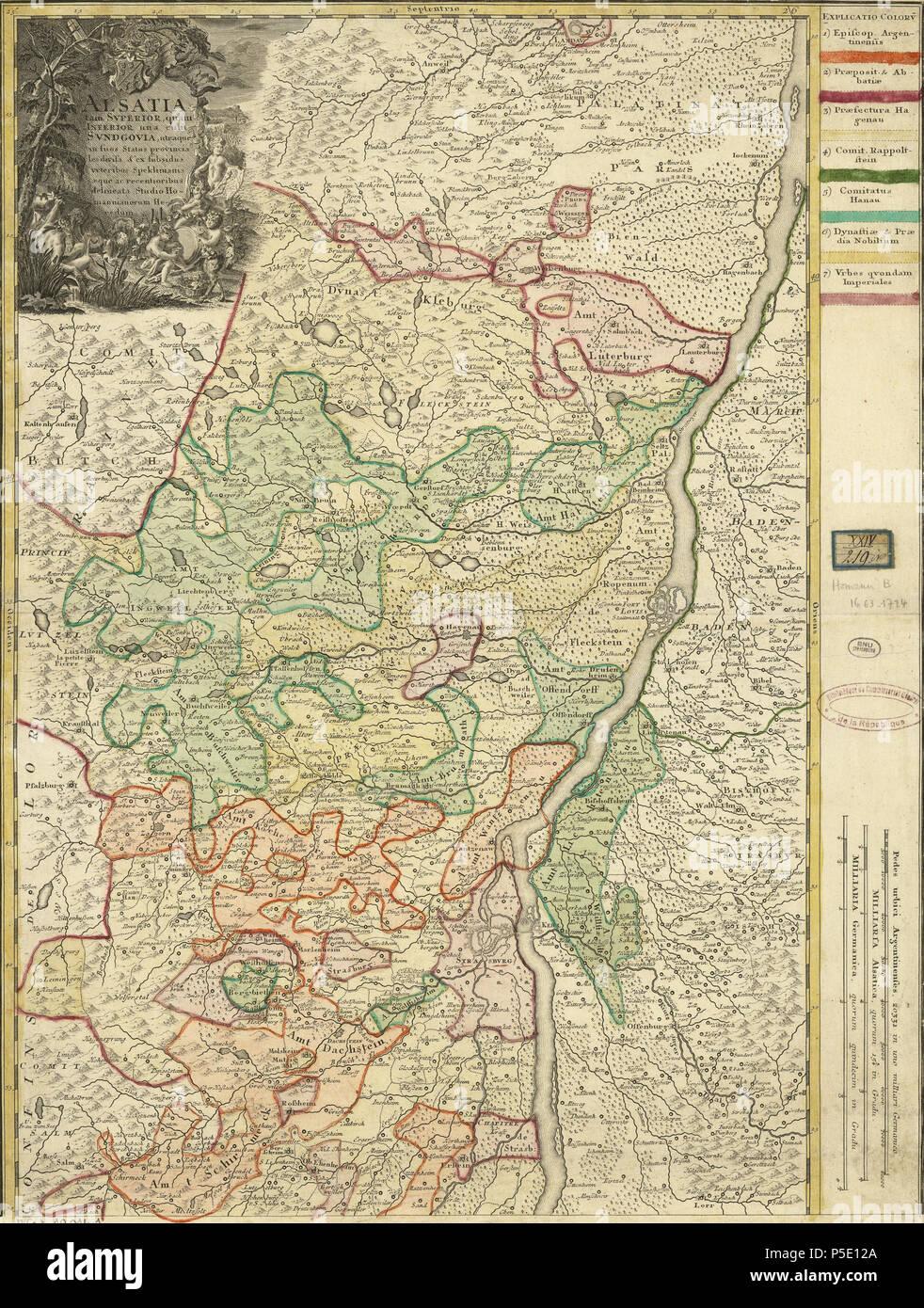 Carte Lalsace.N A Francais Carte De L Alsace Inferieure Before 1744