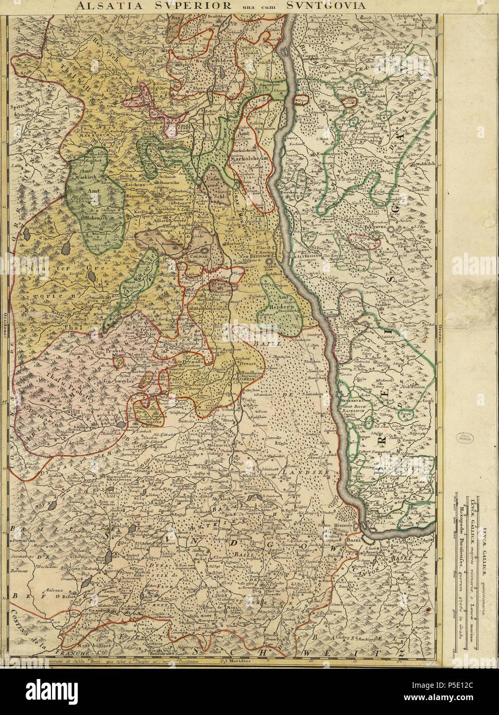 Carte Lalsace.N A Francais Carte De L Alsace Superieure Before 1744