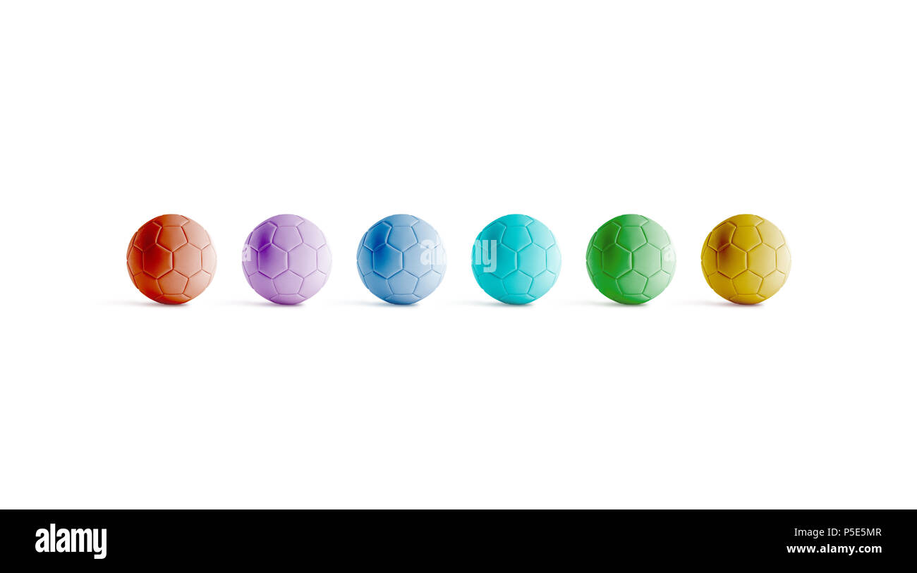 Blank varicoloured soccer ball mock ups, front view, 3d rendering. Empty colored football mockup, isolated. Clear colorful ball for playing on the fie - Stock Image