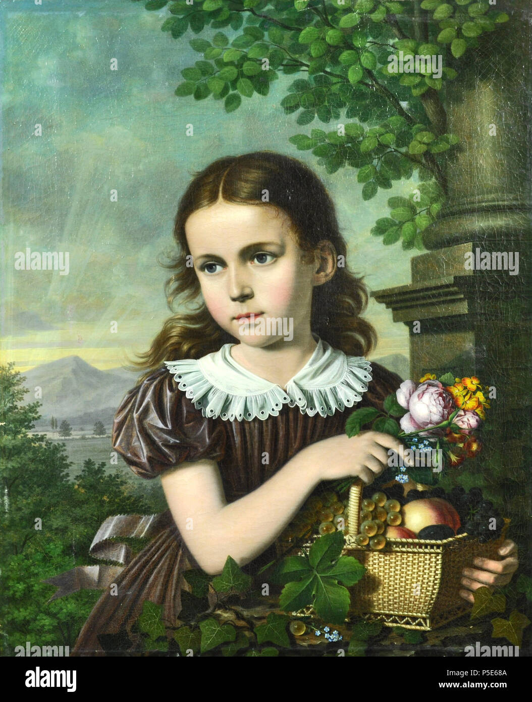 N/A. Deutsch: Mädchen mit Blumen und Fruchtkorb . 1822. Bernhard Peter von Rausch (1793-1865) 193 Bernhard Peter von Rausch - Madchen mit Blumen und Fruchtkorb 1822 - Stock Image