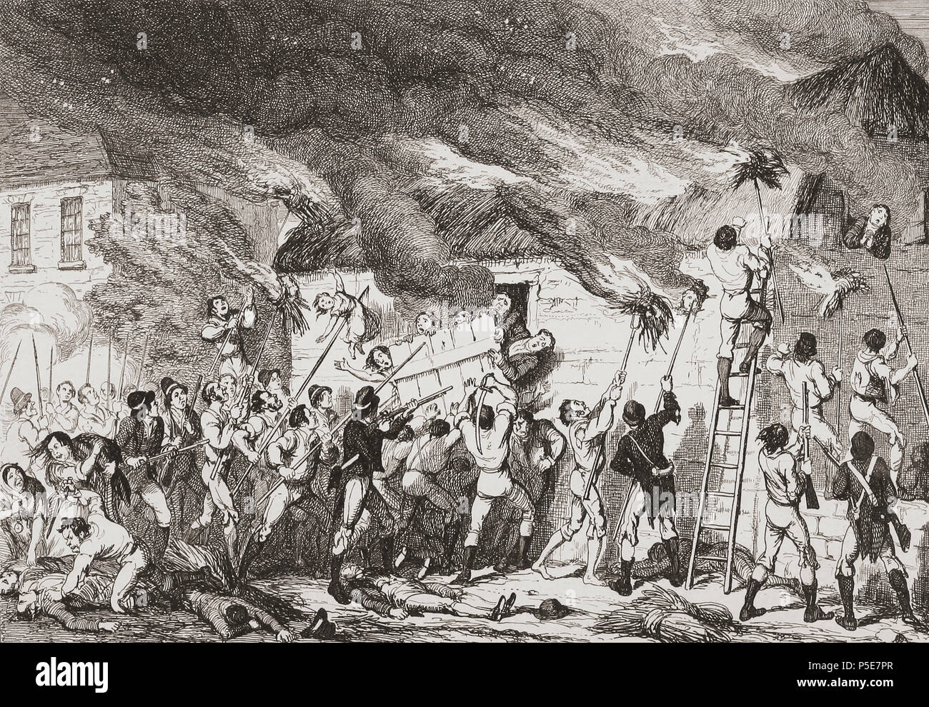 """""""Massacre at Scullabogue"""".  Illustration by George Cruikshank.  The massacre was an atrocity committed by insurgents during the 1798 Irish Rebellion which cost the lives of over 100 noncombatant men, women and children. It took place in Scullabogue, near Newbawn, County Wexford.  From History of the Irish Rebellion in 1798; with Memoirs of the Union, and Emmett's Insurrection in 1803 by W.H. Maxwell. Published in London 1854. Stock Photo"""