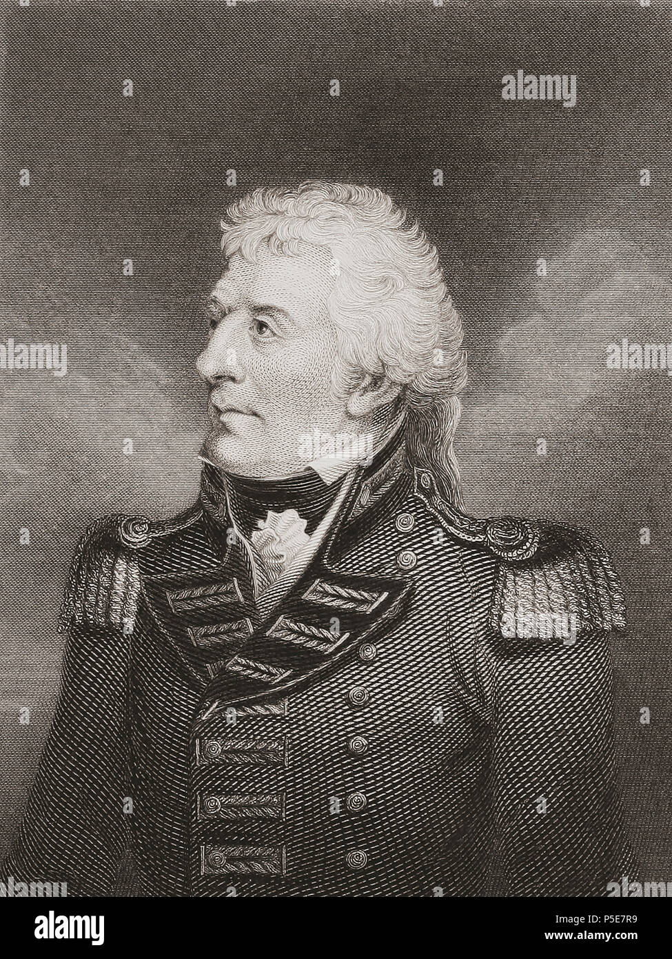 Gerard Lake, 1st Viscount Lake, 1744 – 1808. Commander British forces in Irish Rebellion 1798, Commander-in-Chief of military in British India, member of Parliament.  From History of the Irish Rebellion in 1798; with Memoirs of the Union, and Emmett's Insurrection in 1803 by W.H. Maxwell. Published in London 1854. - Stock Image
