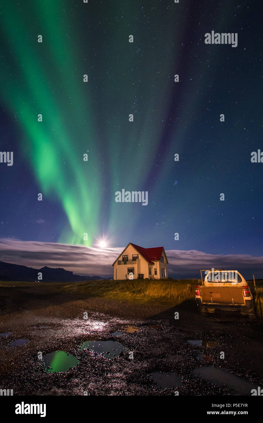 Aurora Borealis at Langaholt Guest House, Ytri Gardar, Snæfellsbær, Iceland.  My trip to Iceland with Arctic Exposure. 8th October 2017-17October 2017 - Stock Image