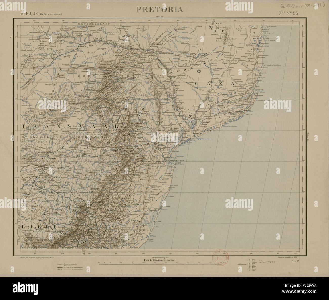 278 Carte de l'Afrique, Pretoria (région australe) - Stock Image