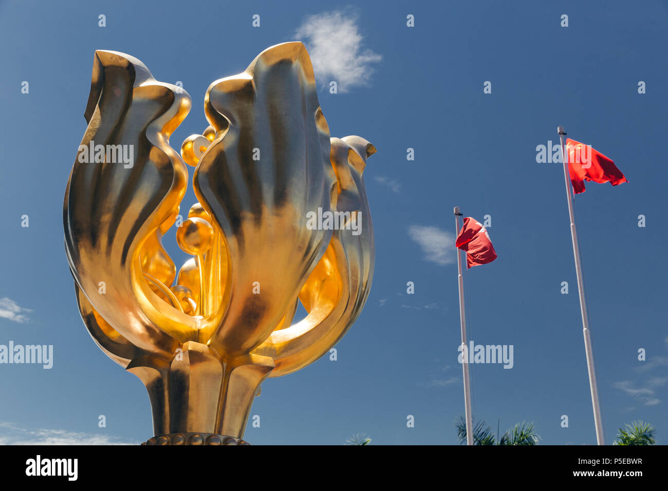 HONG KONG - MAY 29, 2018: Golden Bauhinia Square flower monument - Stock Image