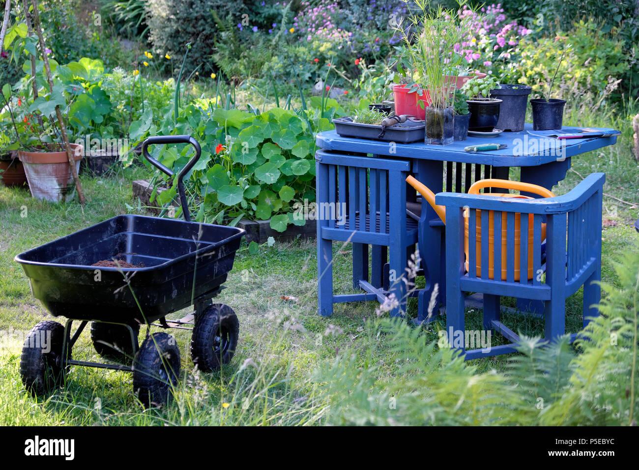 Garden Chair Flowers Uk High Resolution Stock Photography ...