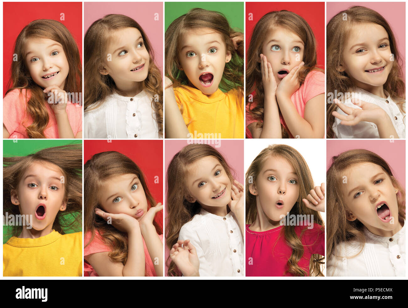 The collage of different human facial expressions, emotions and feelings of young teen girl. - Stock Image