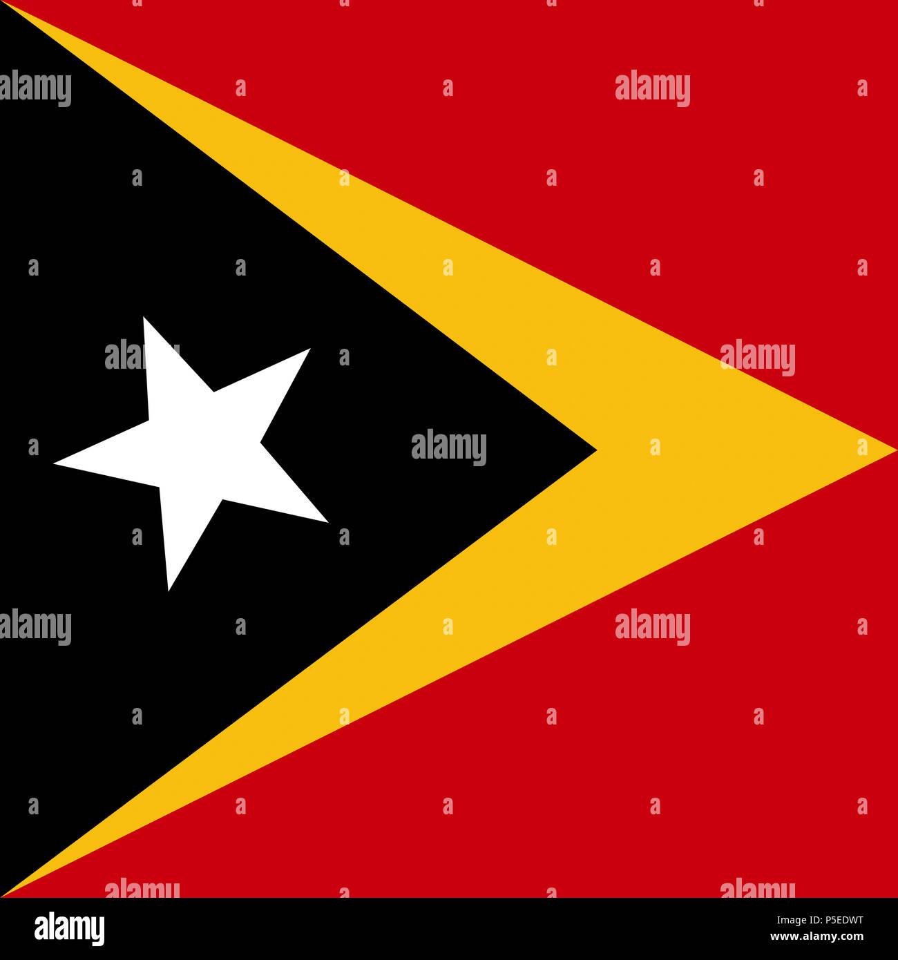 Official national flag of Timor-Leste, Osttimor Stock Photo