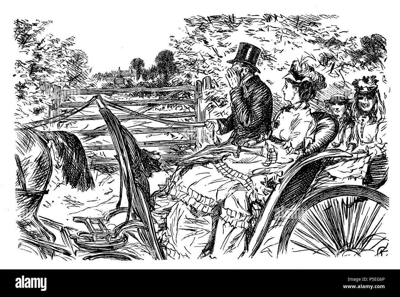 The considerate coachman, caricature and humor by Charles Keene (1823 – 1891)  for Punch 1872 - Stock Image