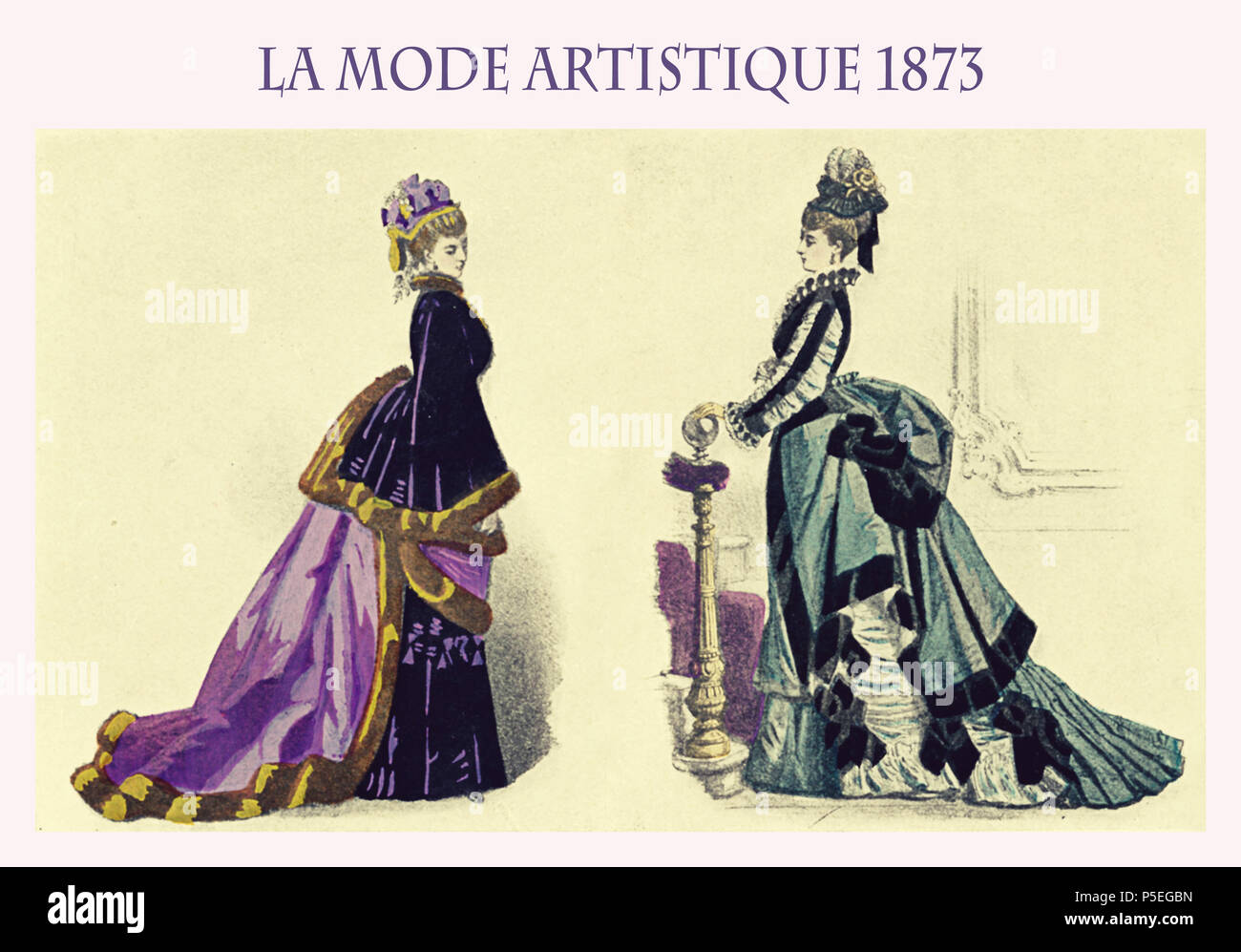 fashion end '800, French magazine La mode artistique 1873 presents two ladies with fancy flounced skirts, cape and hairdo - Stock Image