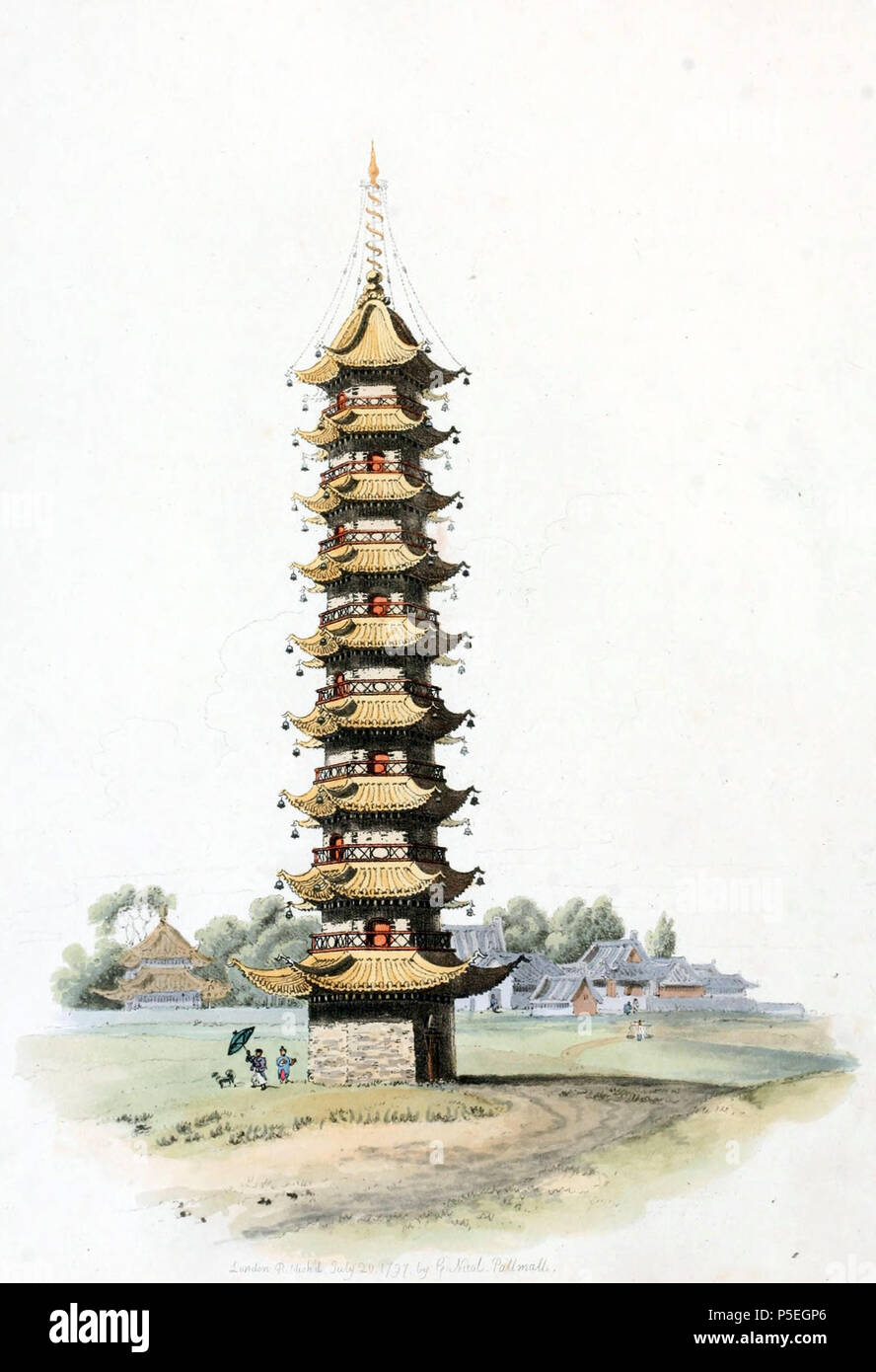 N/A. English: Drawing by William Alexander, draughtsman of the Macartney Embassy to China in 1793. A pagoda near the City of Sou-tcheou in China. Alexander notes that the Chinese name for them is Ta, but Europeans have improperly denominated them Pagodas. Ta's are generally built of brick, and sometimes cased with porcelain, and chiefly consist of nine, though some have only seven or five stories, each having a gallery, which may be entered from the windows, and a projecting roof, covered with tiles of a rich yellow colour, highly glazed, which receive from the sun a splendour equal to burnish - Stock Image