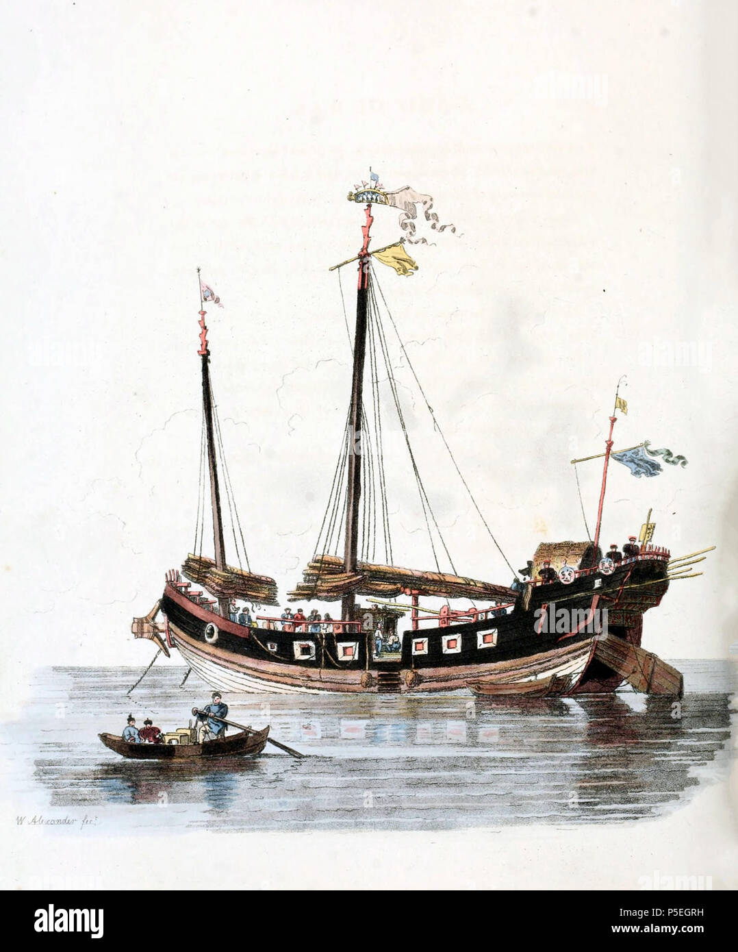 N/A. English: Drawing by William Alexander, draughtsman of the Macartney Embassy to China in 1793. A ship of war Pin-gee-na laying at anchor near Ning-po. The rudder is lifted to preserve it while at anchor. Alexander noted that the artillery ports were false, as few ships of the Chinese navy were equipped at that time with guns, and were used primarily for transporting troops. Image taken from The Costume of China, illustrated in forty-eight coloured engravings, published in London in 1805. circa 1800.   William Alexander (1767–1816)   Alternative names Mr. Alexander; W. Alexander  Descrip - Stock Image