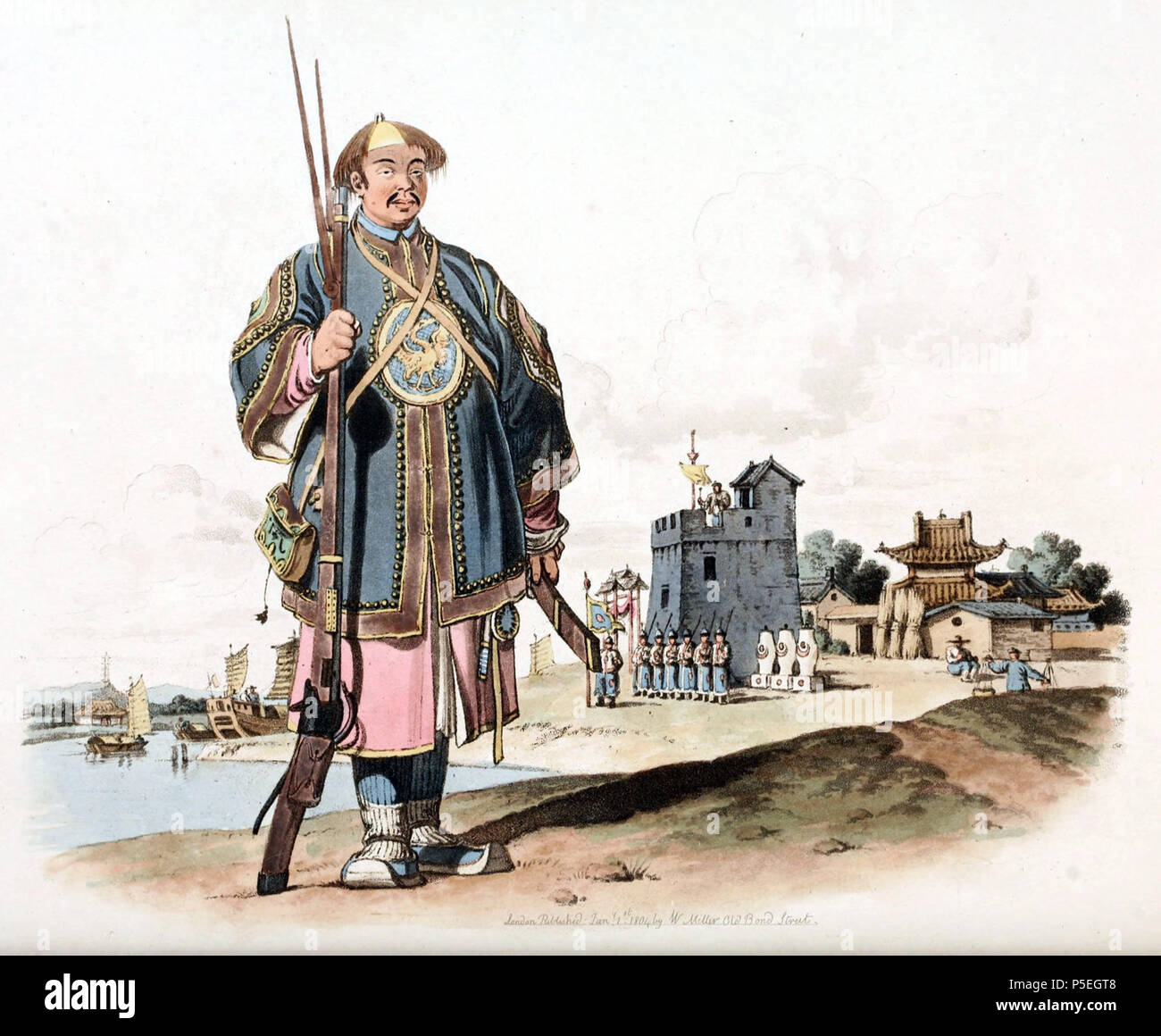 N/A. English: Drawing by William Alexander, draughtsman of the Macartney Embassy to China in 1793. A soldier armed with a matchlock gun. At his right side hangs his cartouch-box and on his left, his sword with the point forwards. In the background, there is a military post. A sentinel beats a gong to call out the guard, who are ready to salute a man of rank. Alexander noted an outdated design of the Chinese firearms compared to the European muskets. Image taken from The Costume of China, illustrated in forty-eight coloured engravings, published in London in 1805. circa 1800.   William Alexande Stock Photo