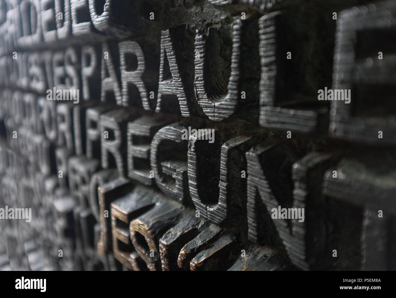 Old wooden carved detailed relief lettering, Barcelona, Italy. Stock Photo
