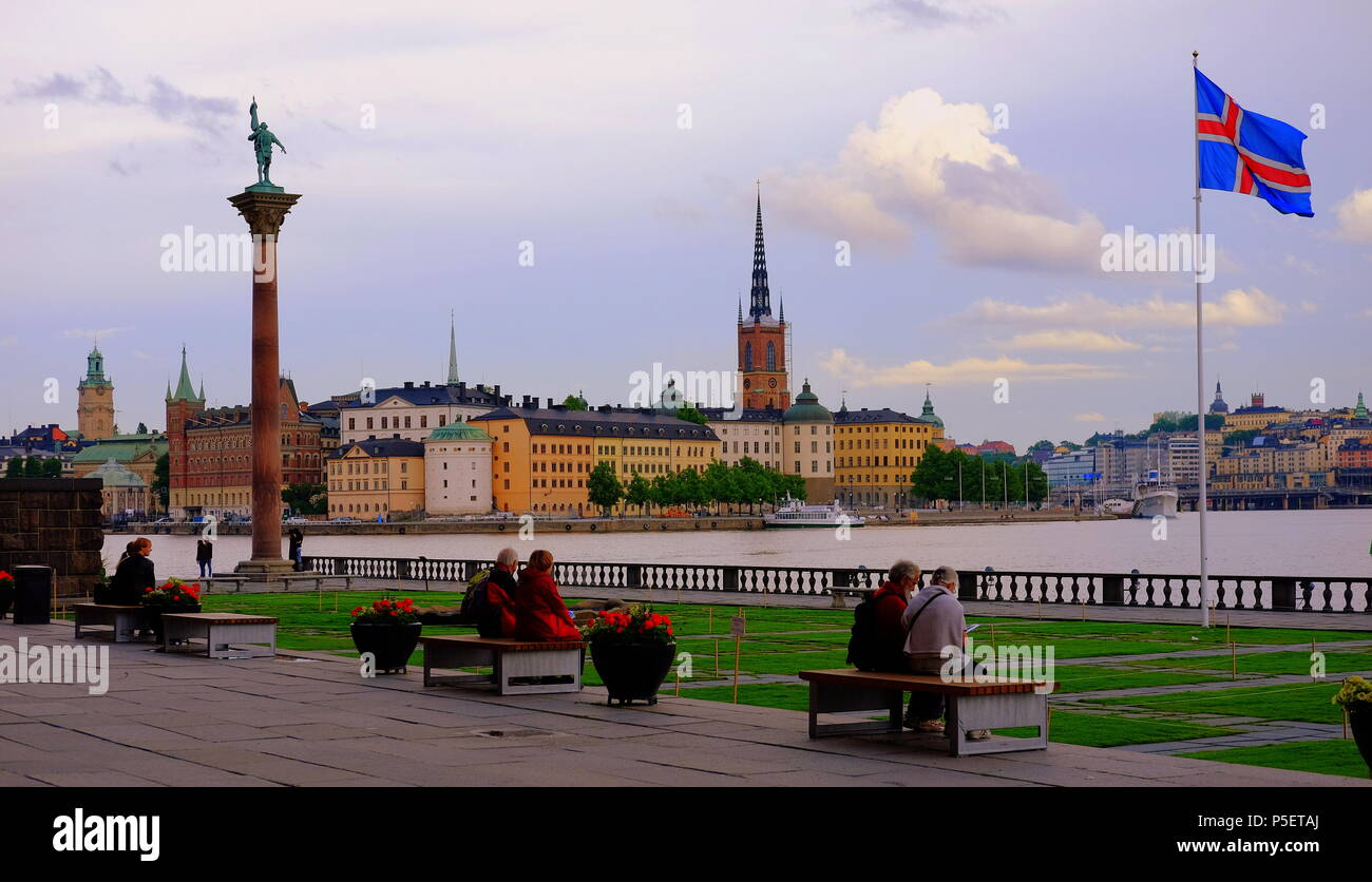 Stockholm Stadhuset  gardens looking towards Gamla Stan. Sweden. - Stock Image