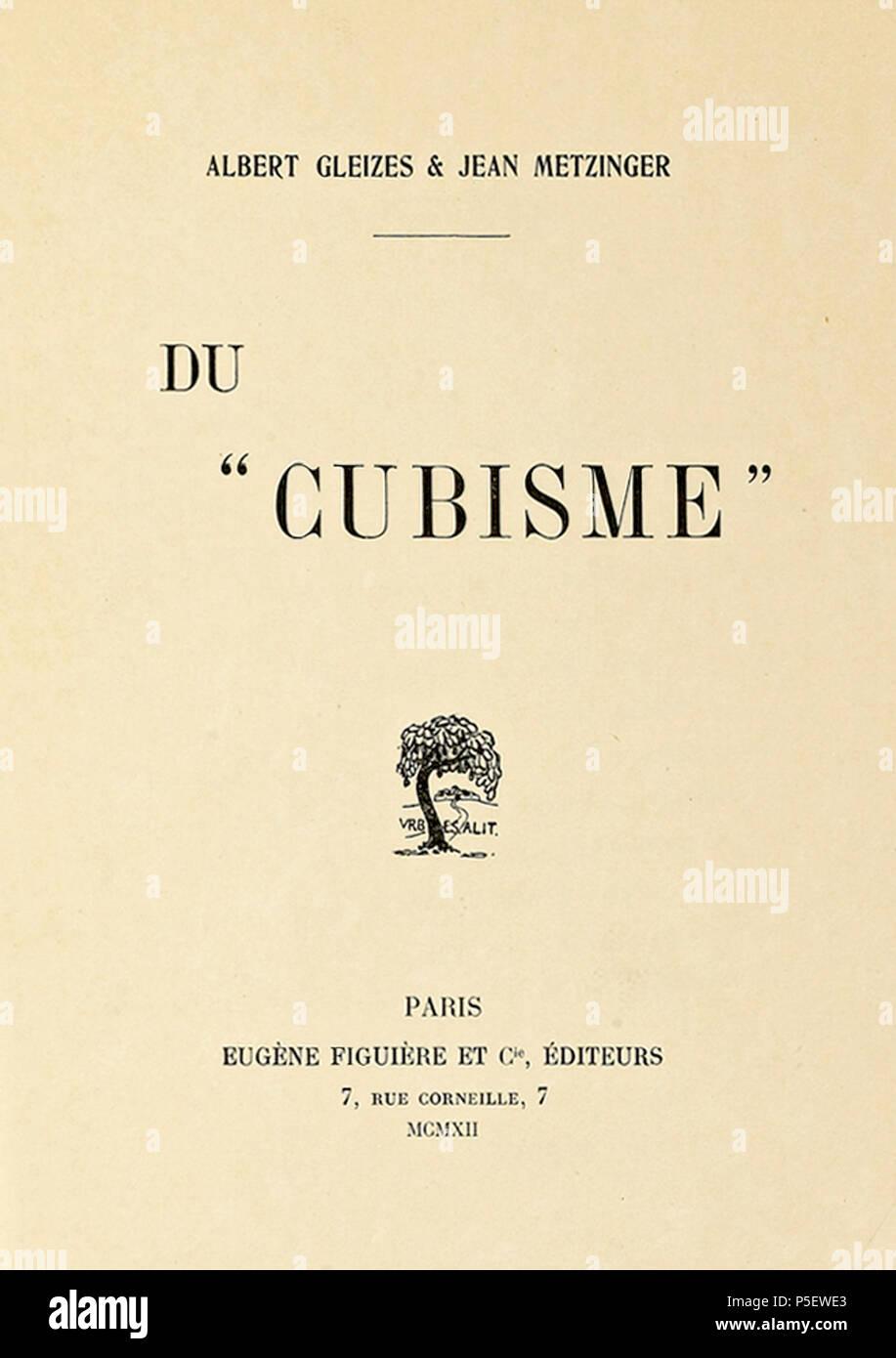 """482 Du """"Cubisme"""", 1912, Jean Metzinger, Albert Gleizes, Eugène Figuière Editeurs (cover) - Stock Image"""