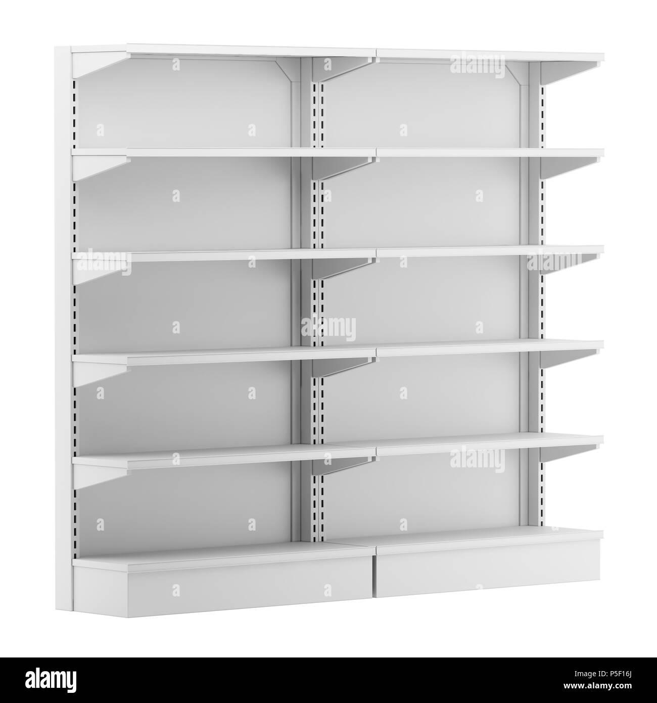 empty supermarket shelves isolated on white background. 3d illustration Stock Photo