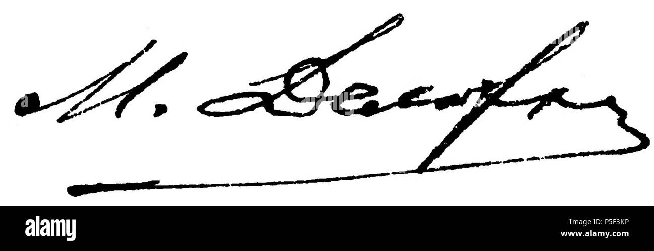 N/A. English: A signature of Mikhail Delaryu, a member of the First Russian State Duma . 1908. Mikhail Delaryu 433 Delaryu Signature - Stock Image