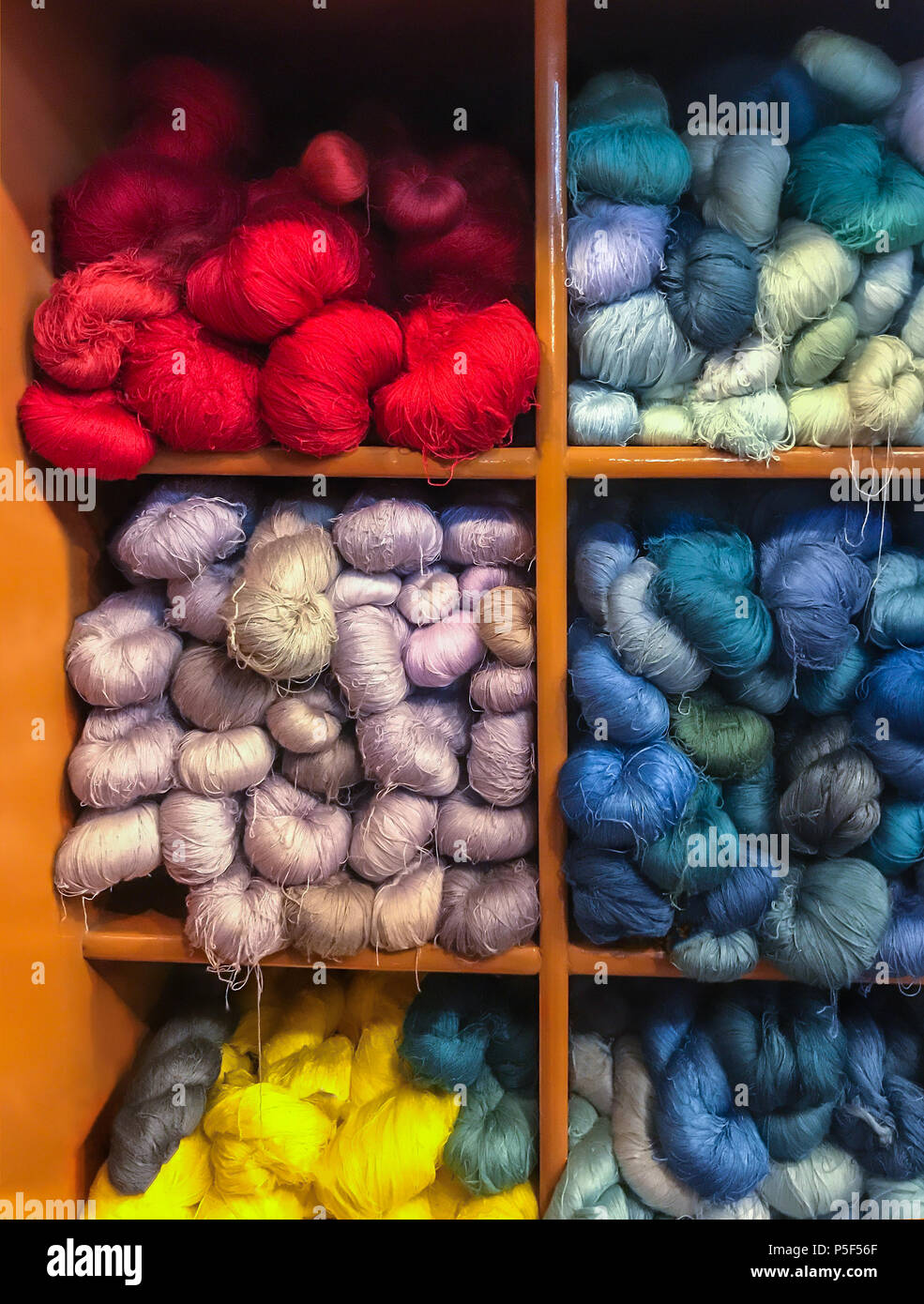 Asian Traditional Cultural Color Dyeing Silk Cloth Process Textile Yarn  Thread Fabric Material In Cabinet
