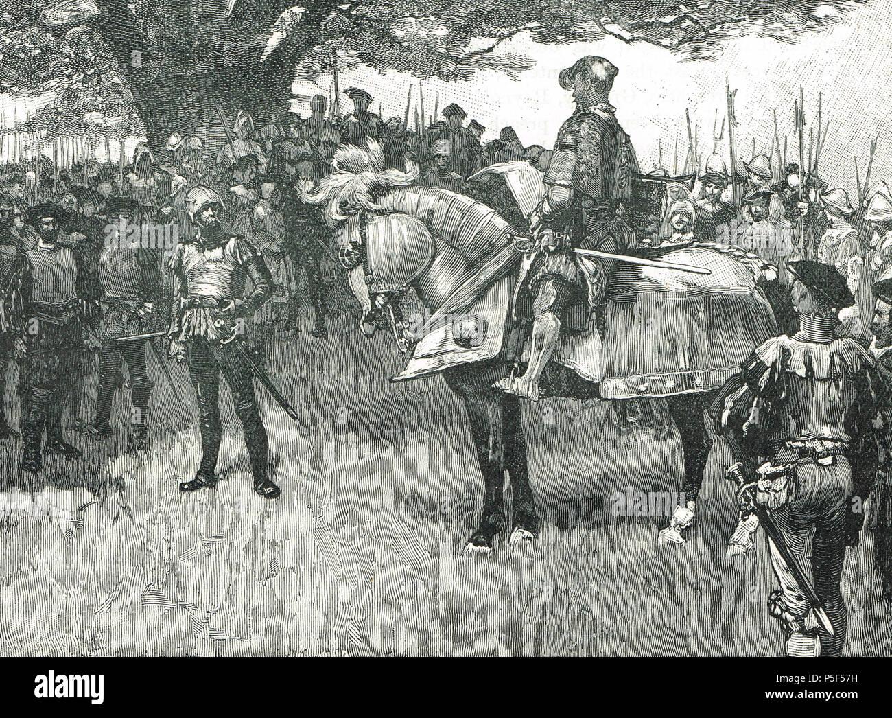 The royal herald in Kett's camp, Kett's Rebellion of 1549 Stock Photo